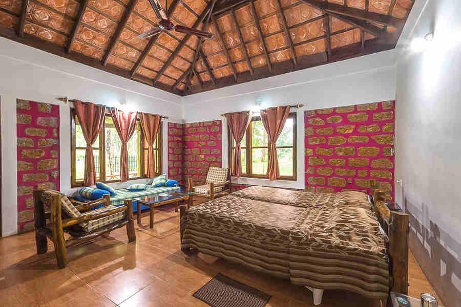 Cottage interior at Dubare elephant camp