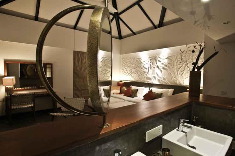 Adjoining-Living-&-Kitchen at Luxury Forest Resort At Belathur