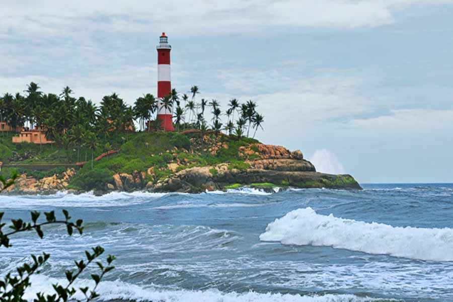Lighthouse-view-from-the-Beach at the Beautiful Beach Resort Stay at Kovalam