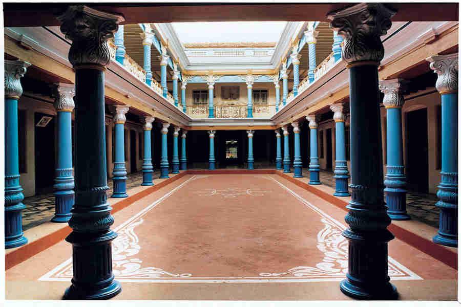 The -Court-yard-at the Heritage Mansion at Kanadukathan