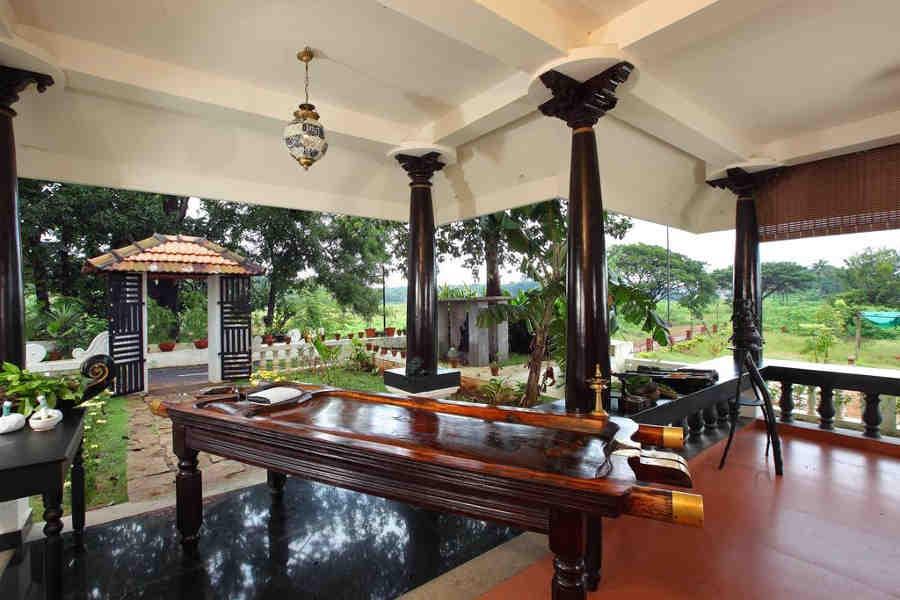 Ayurveda tables at Traditional Ayurvedic Resort near Nila River