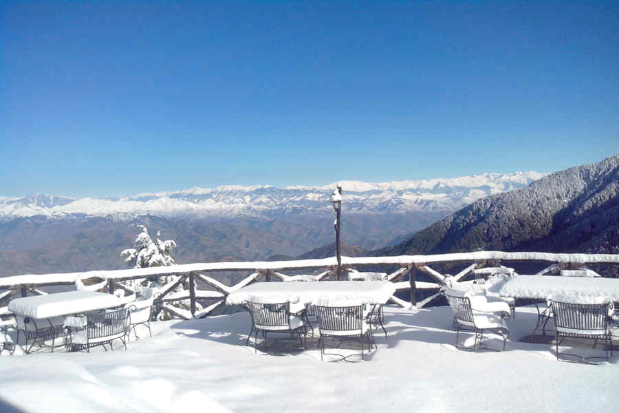 Snow covred sit out at Tranquil Mountain Resort at Kalatop
