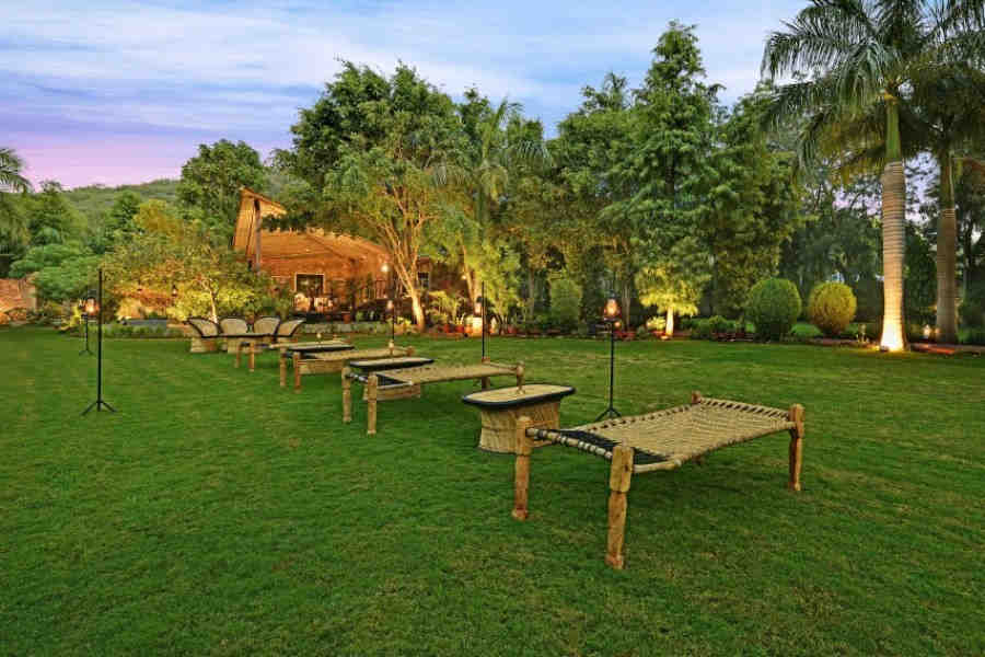 Lawn at Forest Resort Near Ranthambore National Park