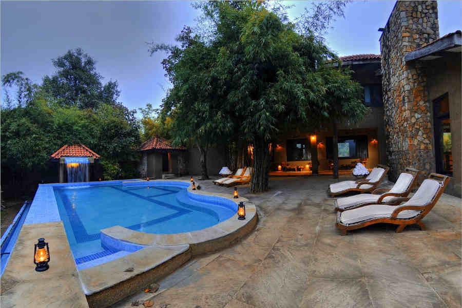Swimming Pool at the Luxury Safari Lodge At Bandhavgarh