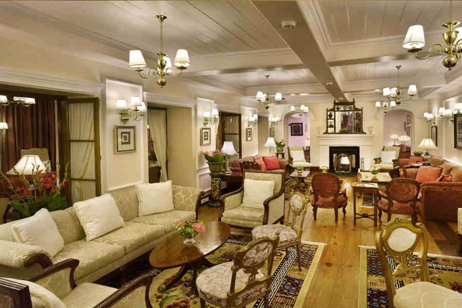 The tea lounge at the Elegant Heritage Hotel In Darjeeling