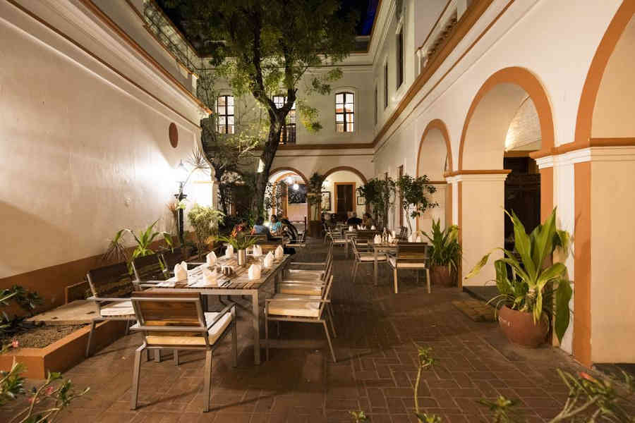 Outdor dining at the Heritage Boutique Stay In Puducherry