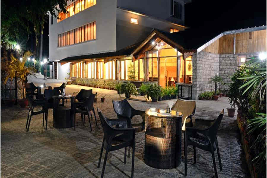 Outdoor seating at the Mountain View Resort And Spa In Gangtok