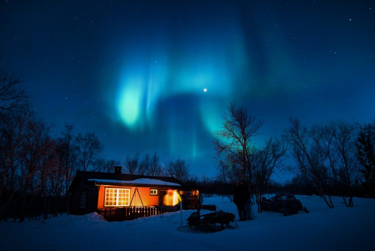 Aurora Borealis and Log Cabin