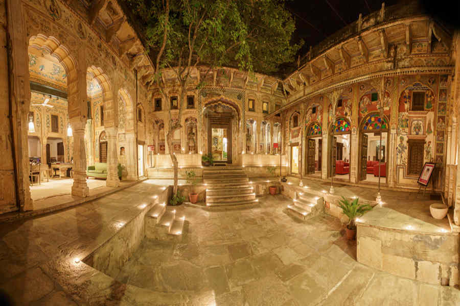 Inner courtyard at the Heritage Haveli Stay In Mandawa