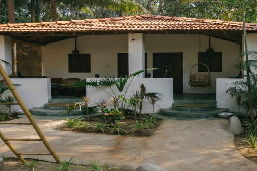 White house at the Beach Resort at Ashvem in Goa