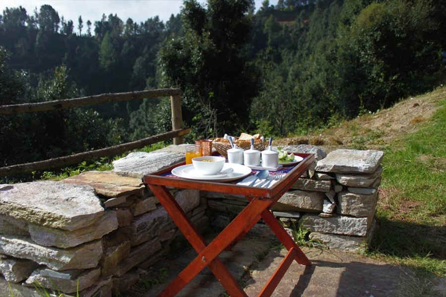 Outdoor seating at the Boutique Homestay In Almora