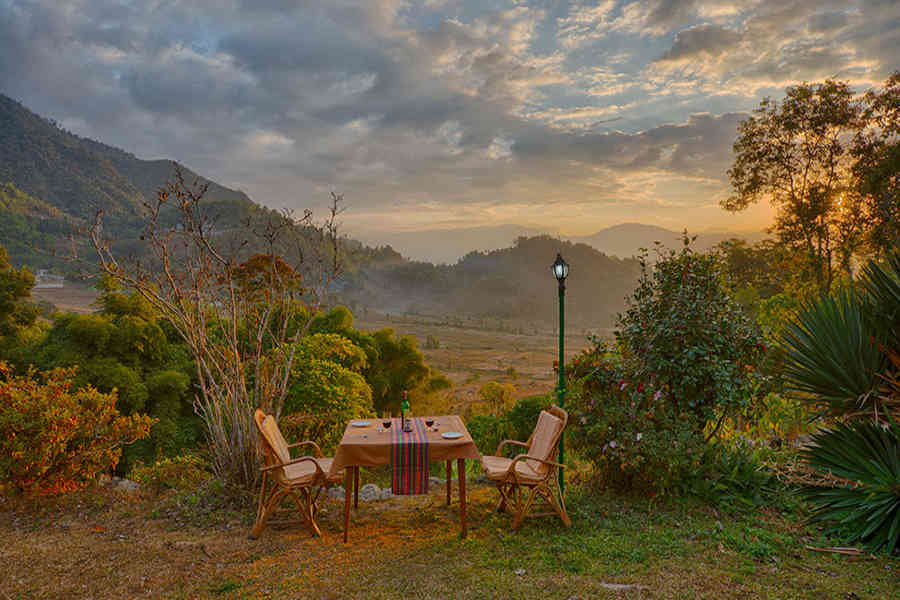 Outdoor dining at the Offbeat Heritage Resort at Martam In Sikkim