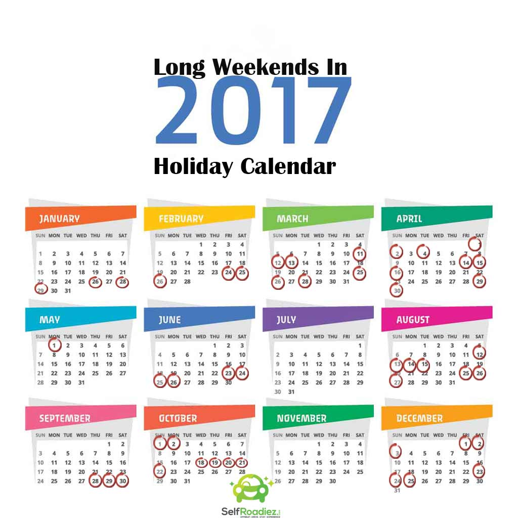 Long Weekends Holiday Calendar 2017