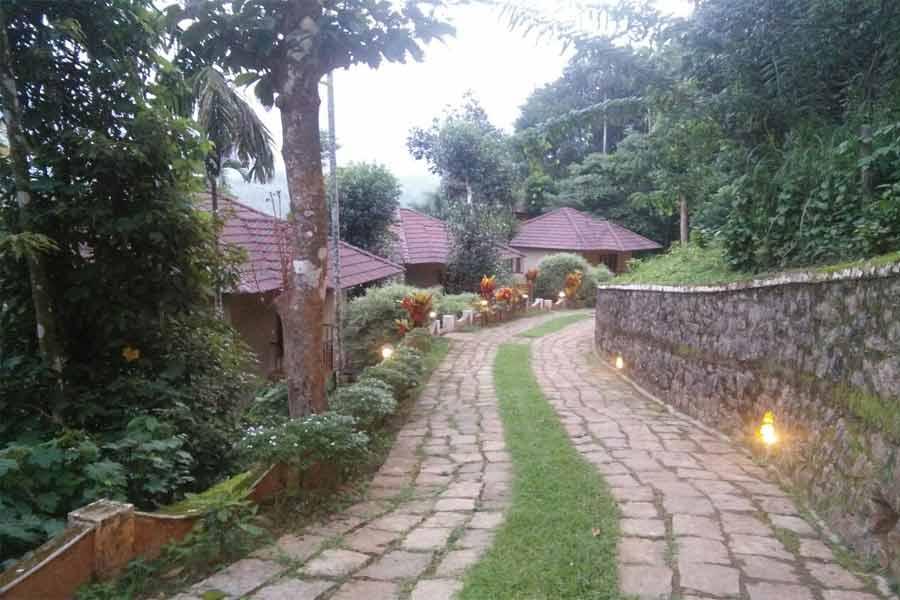 Cobbled-walkwat at an Exclusive Resort-Stay-at-Meppadi-in-Wayanad