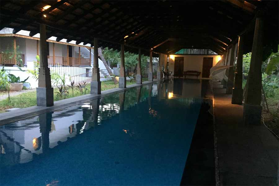 Swimming pool at Heritage Villa at Vaithikuppam in Pondicherry