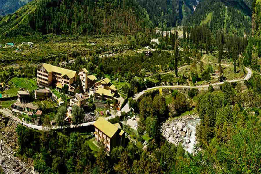 Aerial view of the picturesque hill resort at palchan