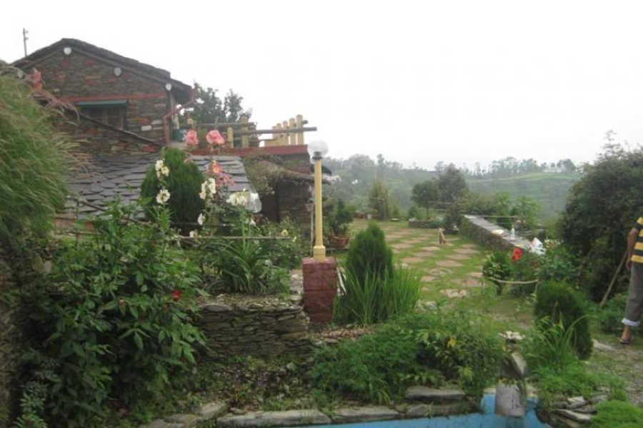 The terrace at Eco lodge at Haryal