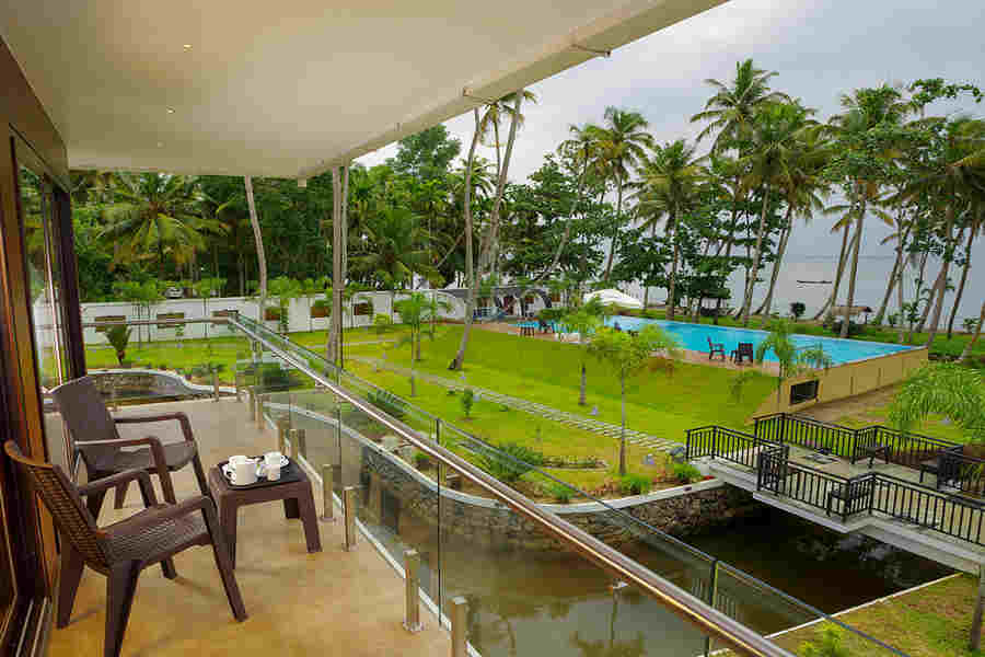 View from balcony at the Premier Resort near Punnamada Lake