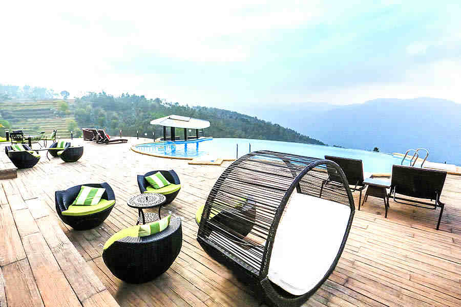 Swimming Pool deck at Exclusive Resort on Mysore-Ooty Highway