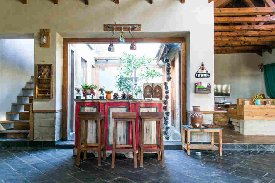 Bar Reception at the Eco-Friendly Boutique Resort In Palampur