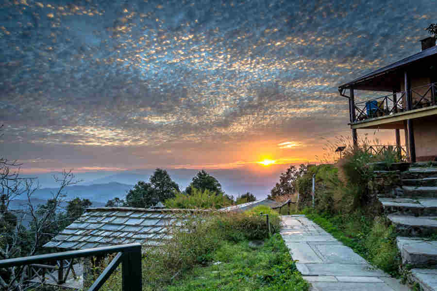 Sunset from the patio at the Eco-Friendly Homestay At Almora
