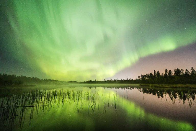 Green-Northern-lights-Rovaniemi-Autumn