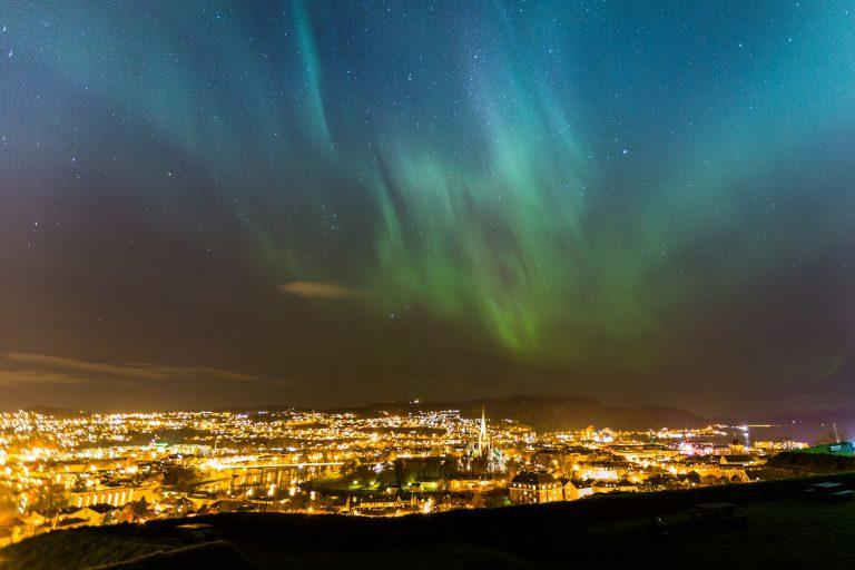 Trondheim City under Aurora Borealis