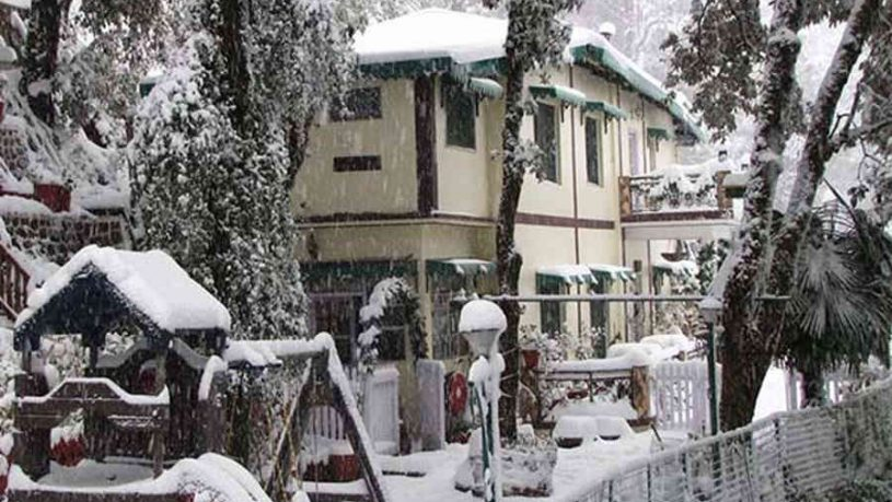Snow covering the Boutique Stay at Landour in Mussourie