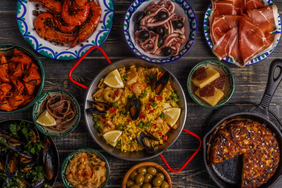 Typical spanish tapas concept, top view
